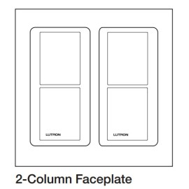 Lutron LPFP-S2-TAW Double Square Faceplate Kit in Arctic White for Pico Wireless Remote