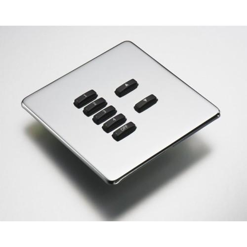 Rako 7 Button Wireless Screwless Cover Plate Kit in Mirror Steel, Rako RLF-070-MS