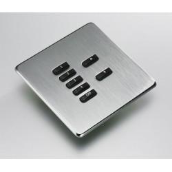 Rako 7 Button Wireless Screwless Cover Plate Kit in Stainless Steel, Rako RLF-070-SS