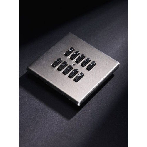 Rako RLM Screwless 10 Button Polished Stainless Steel Screwless Flush Cover Plate RLM-100-SS