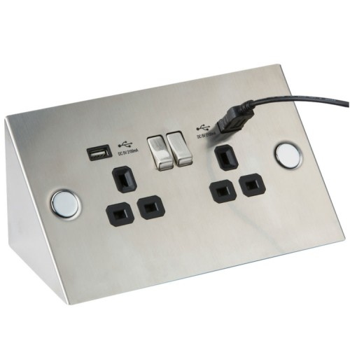 2 Gang 13A Switched Socket with 2 x USB Charger Wedge / Bench / Corner Socket Stainless Steel