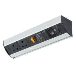 Under Cabinet Power Station: 2 Gang 13A Socket, 2 x USB Charger, and Bluetooth Audio Speaker