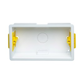 2 Gang 35mm Twin Dry Lining Box with Adjustable Lugs, 133mm x 73mm Cutout