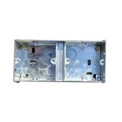 25mm Dual Metal Flush Backbox, 2 x 1 Flush Metal Back Box 154 x 70 x 25mm