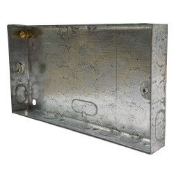 2 Gang 16mm Deep Flush Metal Back Box, Twin Flush Backbox 70 x 130 x 16mm
