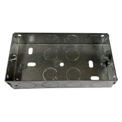 2 Gang 25mm Deep Flush Metal Back Box, Galvanized Twin K.O. Backbox 70 x 130 x 25mm