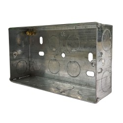 2 Gang 35mm Deep Flush Metal Back Box, Twin Metal Backbox 132 x 74 x 35mm