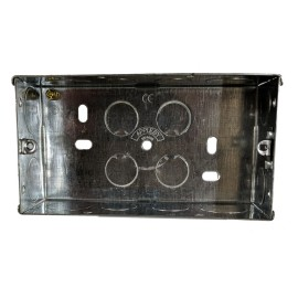 2 Gang 47mm Deep Flush Metal Back Box, Twin Metal Flush Backbox 70 x 130 x 47mm