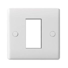BG Nexus 8EMS1 1 Gang 1 Euro Module Cover Plate in White Plastic, Slimline Moulded White