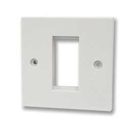 1 Gang Square Edge White Plastic Euro Plate for 1 Euro Module 25 x 50mm only