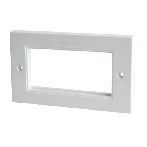 4 Gang Euro Face Plate in White Plastic, Twin Faceplate for 4 Euro Modules