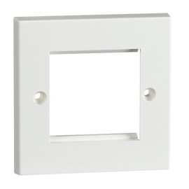 1 Gang Faceplate for 2 Euro Modules, Square Edge White Plastic Cover Plate
