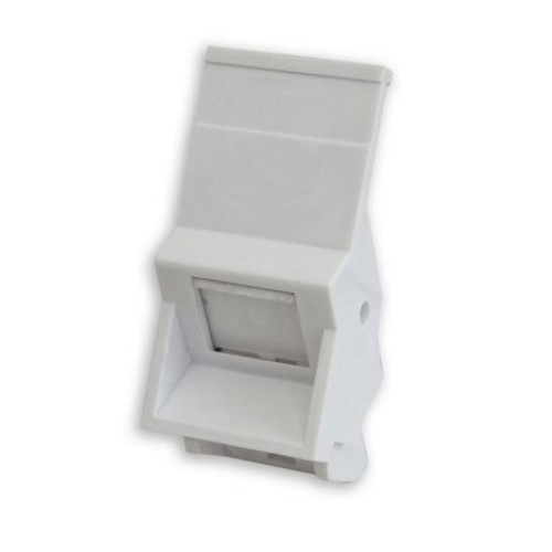 1 Gang Snap-in Euro Module Angled Fascia for CAT6A 25 x 50mm in White
