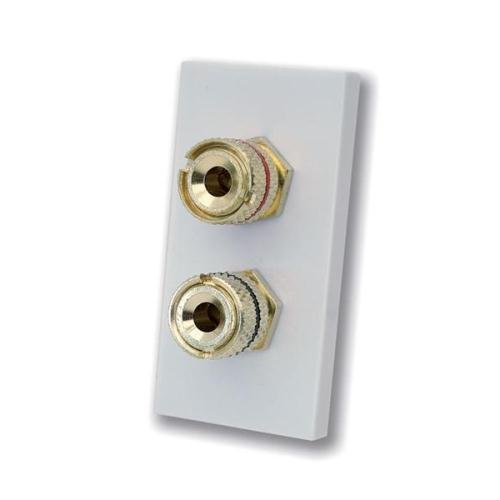White Plastic Euro Module with 2 x Banana Plugs for Hi-Fi Systems/Speakers