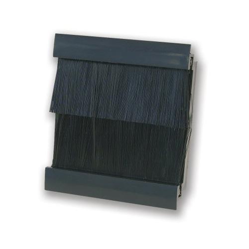 50mm x 50mm Brush in Black for 2 Gang Euro Modules, Black Snap-in Brush Module