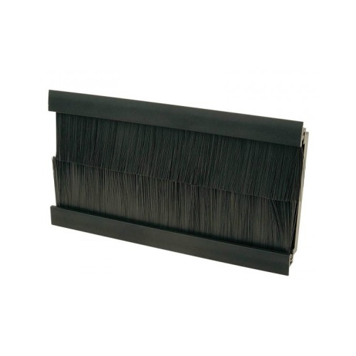 100mm x 50mm Black Brush for 4 Gang Euro Modules, Snap-in Twin Brush Module in Black