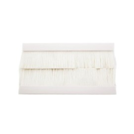 100mm x 50mm White Brush for 4 Gang Euro Modules, Snap-in Twin Brush Module in White
