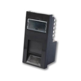 1 Gang Data RJ45 CAT5e Euro Module in Black, 25 x 50mm Snap-in Data Module