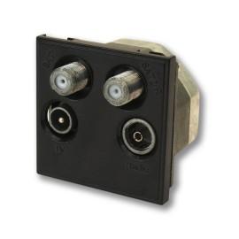 Black Quad Euro Module with TV male, FM-DAB Radio Female, and 2 x F-type SAT sockets 50x50mm
