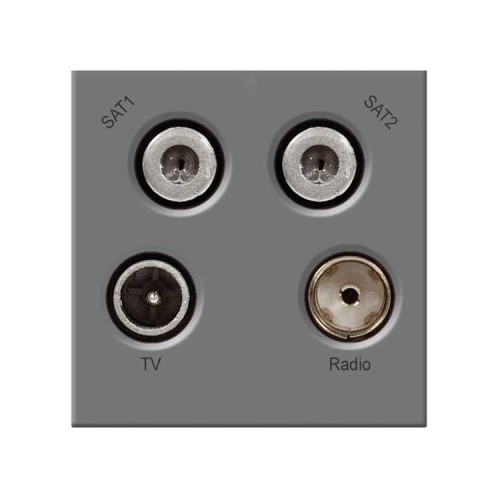 Quad Euro Module (TV, Radio, Dual Satellite Module) in Grey 50x50mm, BG EMTVFMSAT2G Euro Module