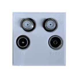 White Quad Euro Module with TV male, FM-DAB Radio Female, and 2 x F-type SAT sockets 50x50mm