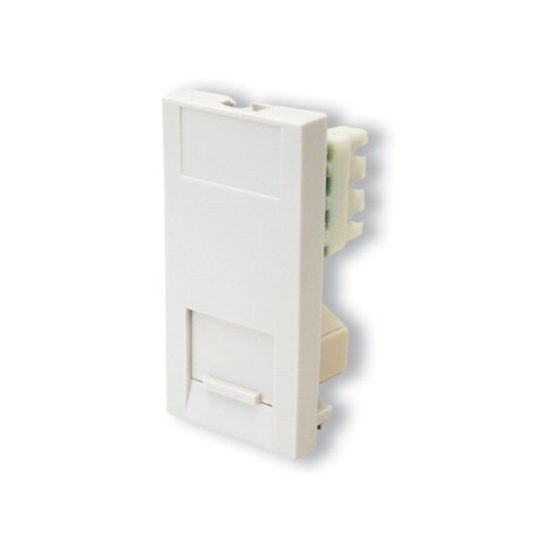 1 Gang RJ11 Telephone Euro Module in White, 25 x 50mm Snap-in module with IDC Connectors