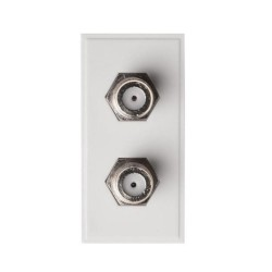 1 Gang Euro Module 2 x F Connection in White Moulded, 2 x Type F Connection