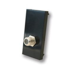 1 Gang F-type TV Satellite Euro Module in Black, 25x50mm Snap-in TV Euro Module