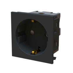 1 Gang Schuko Unswitched Socket Euro Module 16A in Black 50mm x 50mm BG EMSCHSB