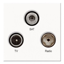 Euro Triplex TV, SAT, and FM DAB Connection White moulded, Triplex 50x50mm Snap-in Module