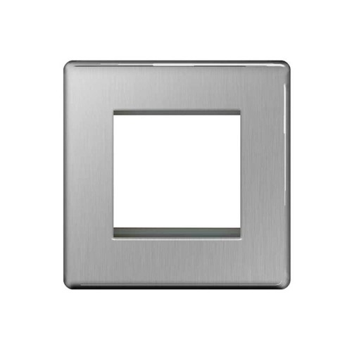 Screwless 2 module Euro Plate in brushed steel, square plate, 2 module euro flat plate