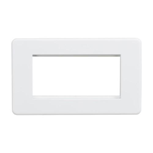 4 Gang Euro Plate Screwless Matt White Flat Metal Plate Knightsbridge SF4GMW