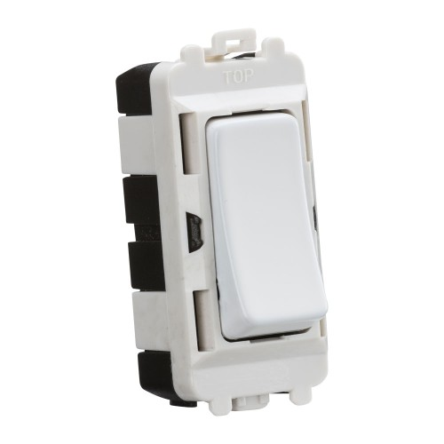 1 Gang 20AX 2 Way Single Pole Grid Module Switch in Matt White, Knightsbridge GDM001MW Grid Switch Module