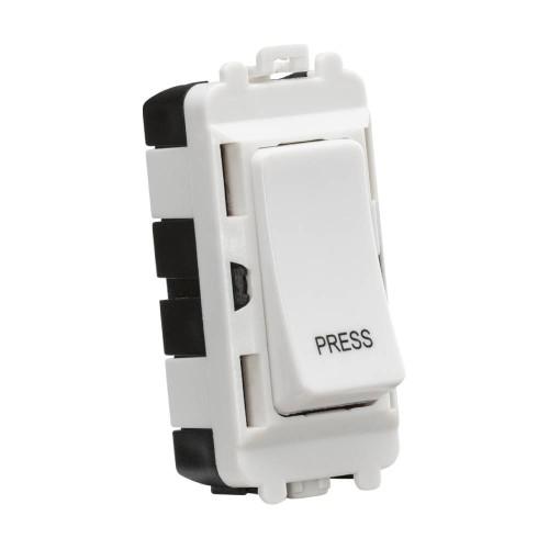 "20AX 2 Way Retractive Single Pole Grid Switch Module marked ""Press"" in White, Knightsbridge GDM006U"
