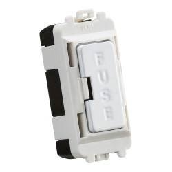 13A Fuse Grid Module in Matt White for Knightsbridge Grid System, 25mm x 56mm Knightsbridge GDM011MW