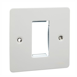 1 Gang Euro Flat Plate in White Metal for 1 Euro Module, Schneider Ultimate GU8250PW Coverplate