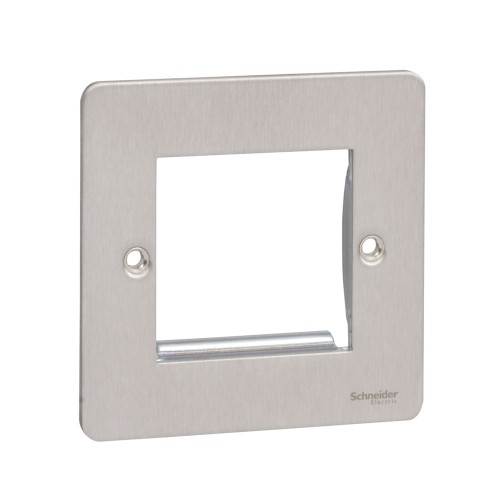 2 Gang Euro Flat Plate in Stainless Steel for up to 2 Euro Modules, Schneider Ultimate GU8260SS