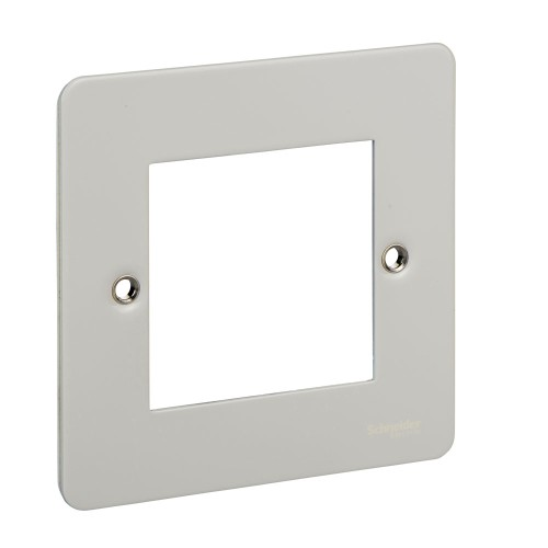 2 Gang Euro Flat Plate in White Metal for 2 Euro Modules, Schneider Ultimate GU8260PW