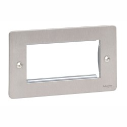 4 Gang Euro Modular Flat Plate in Stainless Steel for up to 4 Euro Modules, Schneider Ultimate GU8280SS Cover Plate