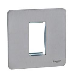 Screwless 1 Gang Euro Modular Flat Plate in Stainless Steel (Cover Plate only) Schneider GU8450SS