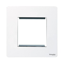 Screwless 2 Gang Euro Modular Flat Metal Plate in White (Cover Plate only) Schneider GU8460PW