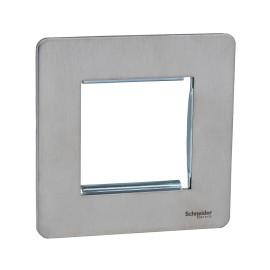 Screwless 2 Gang Euro Modular Flat Plate in Stainless Steel (Cover Plate only) Schneider GU8460SS