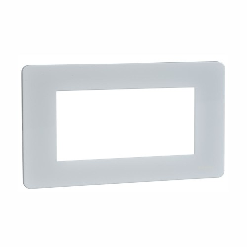 Screwless 4 Gang Euro Modular Flat Plate in White Metal (Cover Plate only) for 4 Euro Modules, Schneider GU8480PW