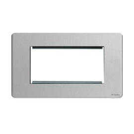 Screwless 4 Gang Euro Modular Flat Plate in Stainless Steel (Cover Plate only) for 4 Euro Modules, Schneider GU8480SS