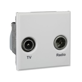 1 Gang TV/FM Diplexed Euro Module Ultimate White Moulded Grid Module Schneider GUE7010