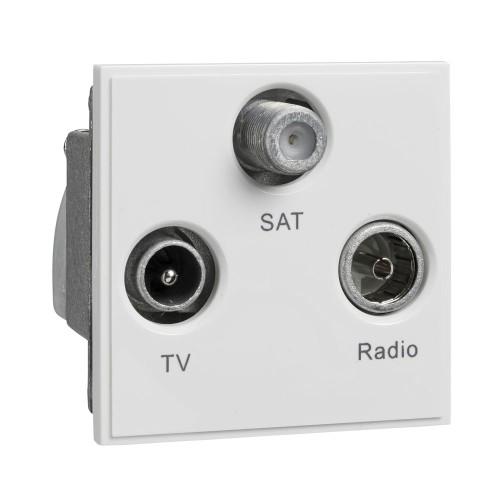 TV/FM/SAT Triplexed Euro Module Ultimate White Moulded Plastic 50 x 50 mm Schneider GUE7081