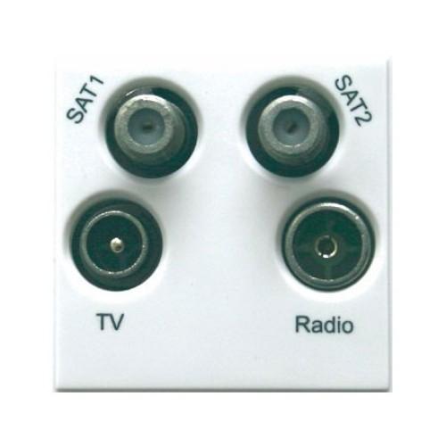 TV/FM/SAT/SAT2 Quad Euro Module Ultimate White Plastic 50 x 50 mm Schneider GUE7082