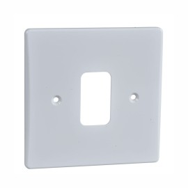 1 Gang Grid Moulded White Front Plate, Schneider GUG01G Single Grid Face Plate