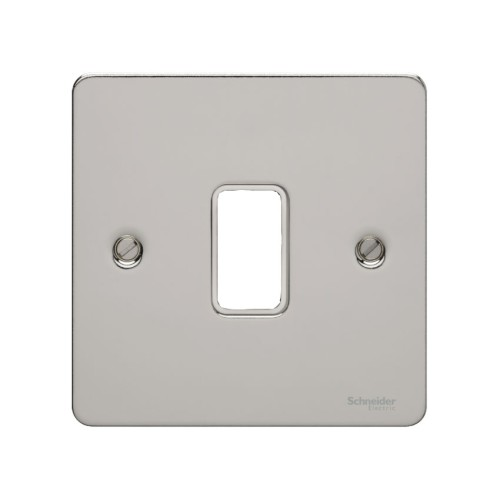1 Gang Grid Flat Plate in Mirror Steel, Single Gang Chrome Flat Plate Schneider Ultimate GUG01GMS