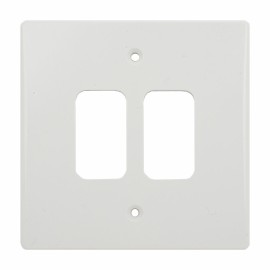 2 Gang Grid Cover Plate in Moulded White, Schneider GUG02G Front Plate for 2 Grid Modules